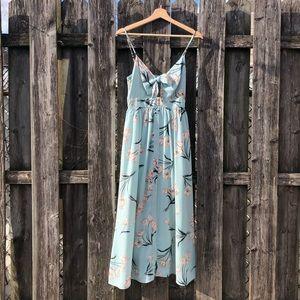 Tie front floral maxi dress